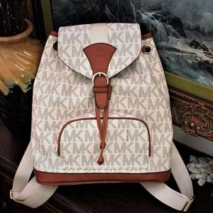 Michael Kors Seatbelt Strap Backpack in Vanilla